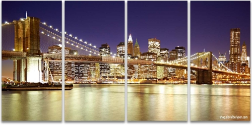 Brooklyn Bridge Lower Manhattan Reflections New York City Artwork