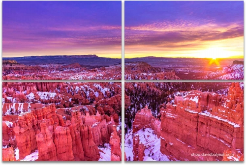Bryce Canyon National Park winter snow sunrise