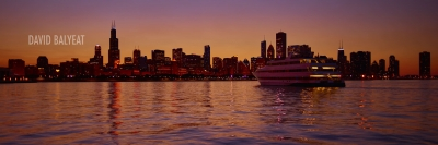 chicago sunset panoramic hd photography