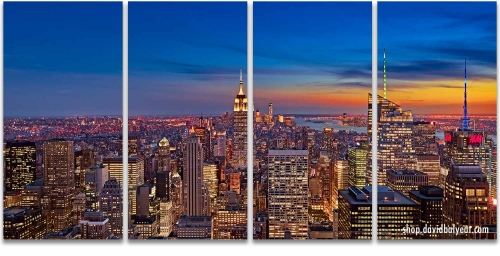 Empire State New York City Manhattan skyscrapers sunset artwork