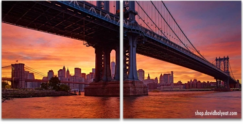 Manhattan bridge 2 Panel Artwork, Brooklyn Manhattan New York City sunset