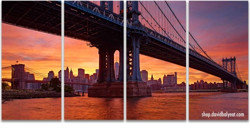 Manhattan bridge Brooklyn Manhattan New York City sunset artwork
