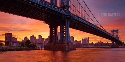 Manhattan bridge Brooklyn Manhattan New York City sunset