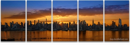 Midtown Manhattan Sunrise 2017 panoramic 5-panel artwork