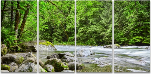 Pacific Northwest River 4 panel artwork