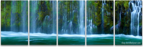 Mossbrae Falls Northern California waterfalls 5 panel artwork