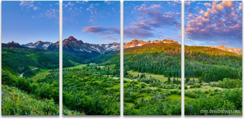 Mount Sneffels Sunrise Colorado San Juan Mountains 4-Panel Artwork