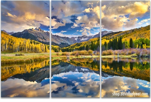 Colorado Autumn reflections mountains fall foliage 3-panel triptych artwork
