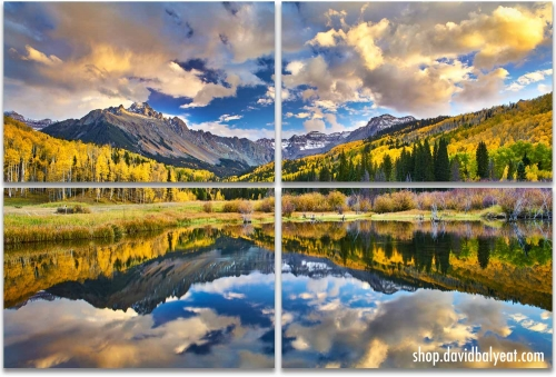 Colorado Autumn reflections mountains fall foliage 4-panelartwork