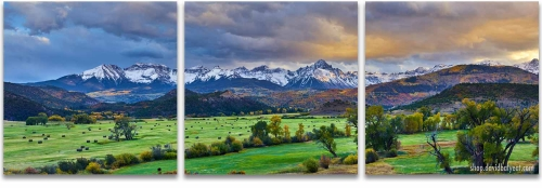 Colorado mountain ranch sunset sneffels autumn 3-panel Artwork