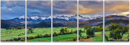 Colorado mountain ranch sunset sneffels autumn 5-panel Artwork