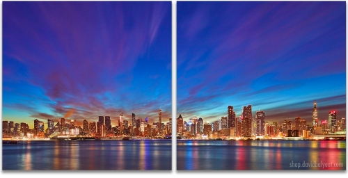 Manhattan Dream Midtown New York City skyline sunrise 2-panel artwork