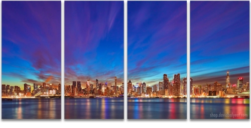 Manhattan Dream Midtown New York City skyline sunrise 4-panel artwork