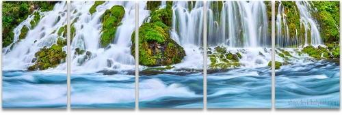 Norther California secret waterfalls living waters 5-panel artwork