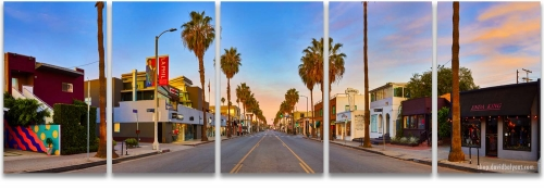 Abbot Kinney Venice Beach California sunrise panoramic professional cityscape 5-panel artwork