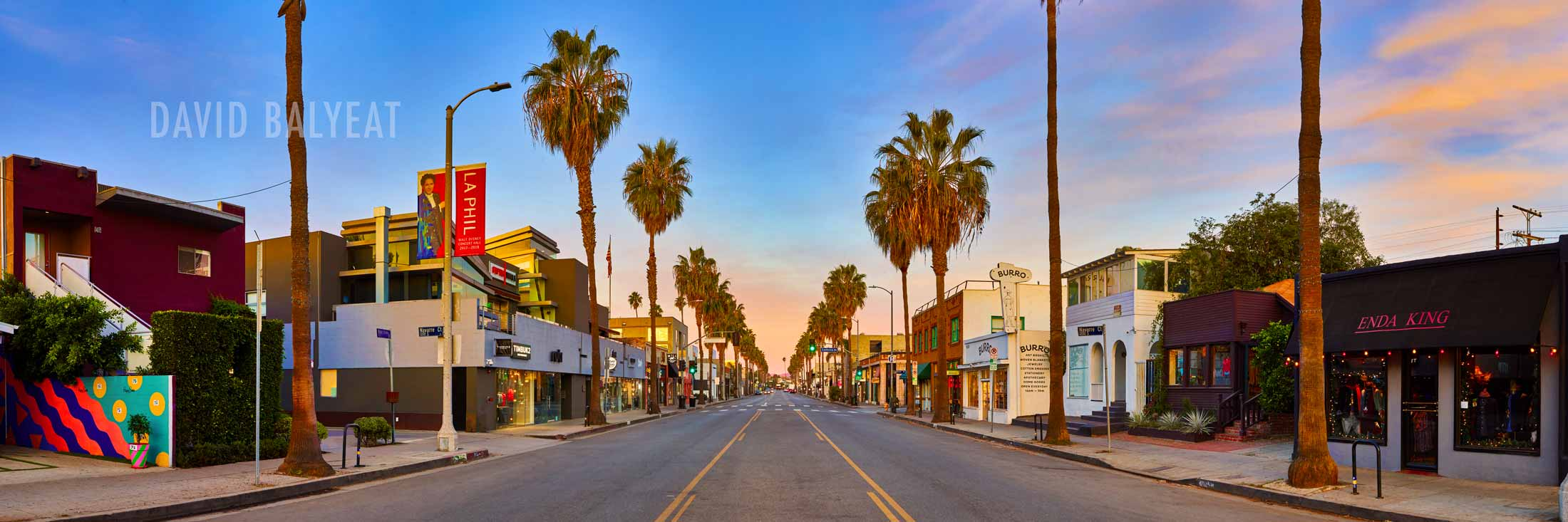 Abbot Kinney Venice Beach California sunrise panoramic professional cityscape photography