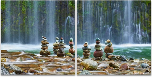 Meditation Zen Cairns waterfalls diptych wall art