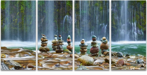 Meditation Zen Cairns waterfalls quad wall art
