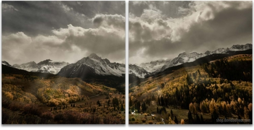 Autumn Radiance Mount Sneffels Sunrays 2 panel artwork diptych wall art