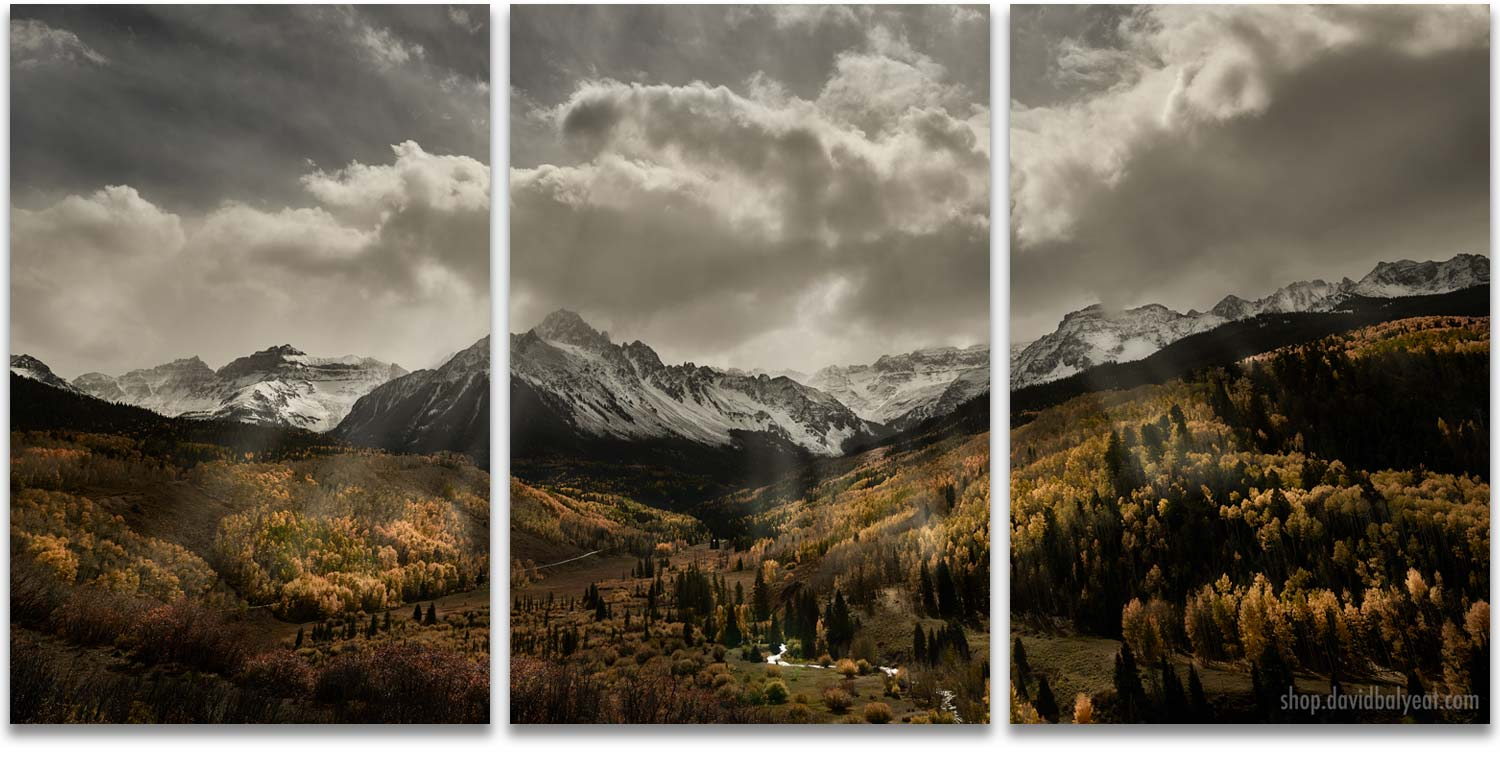 Autumn Radiance Mount Sneffels Sunrays 3 panel artwork triptych wall art