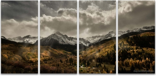 Autumn Radiance Mount Sneffels Sunrays 4 panel artwork quadriptych wall art