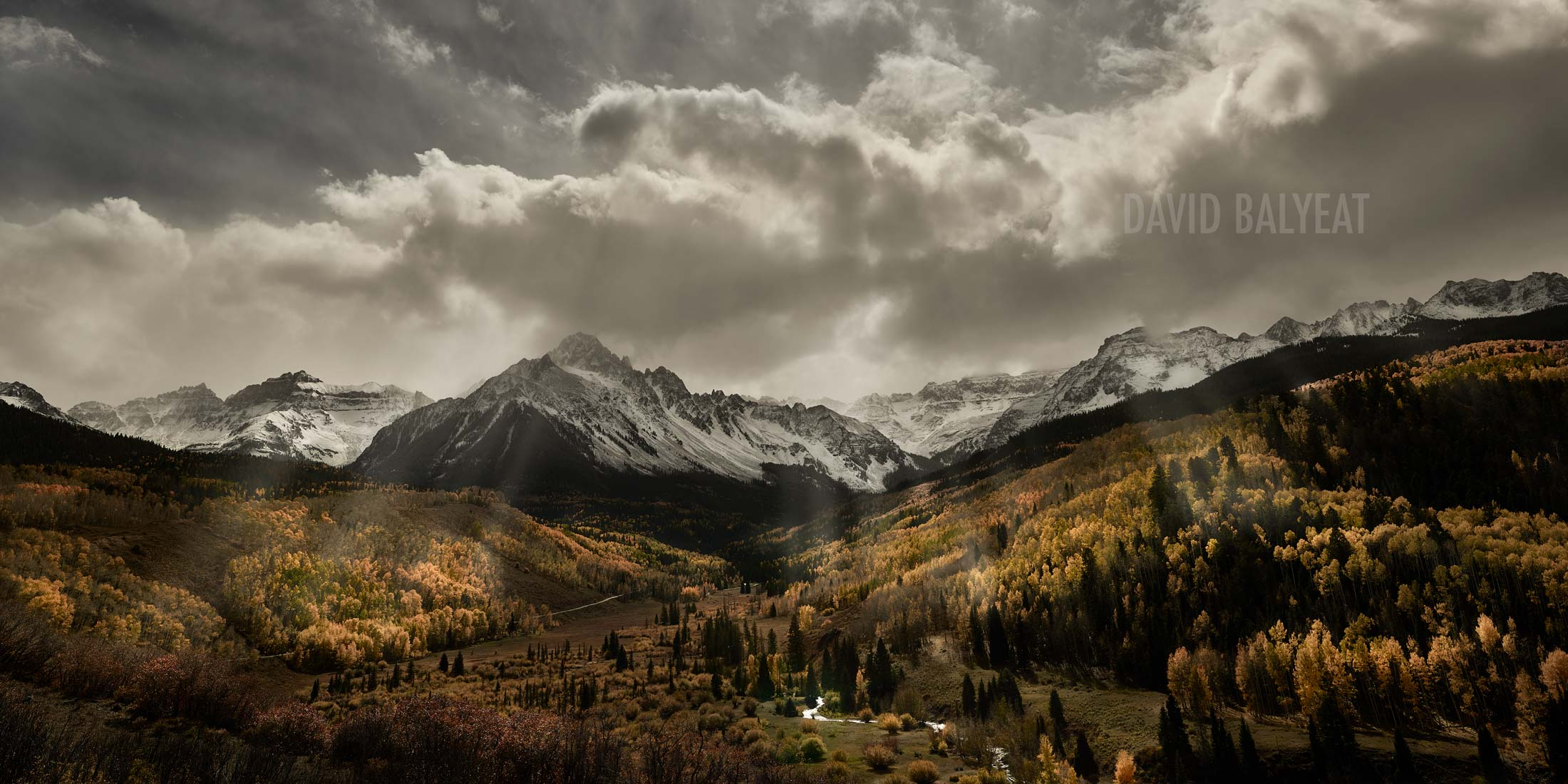 Autumn radiance Mount Sneffels sunrays Dallas Divide Colorado Ridgway Telluride high-defintion HD professional landscape photography