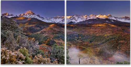 Morning mist mount sneffels san juan mountains ridgway colorado 2 panel artwork
