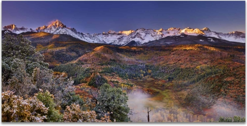 Morning mist mount sneffels san juan mountains ridgway colorado artwork