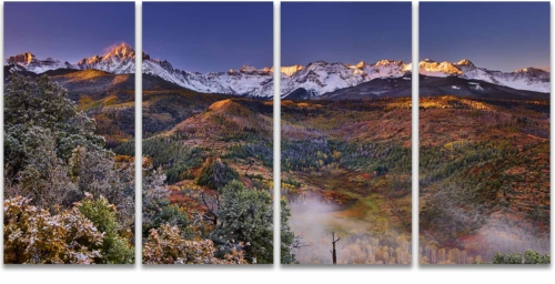 Morning mist mount sneffels san juan mountains ridgway colorado 3 panel artwork