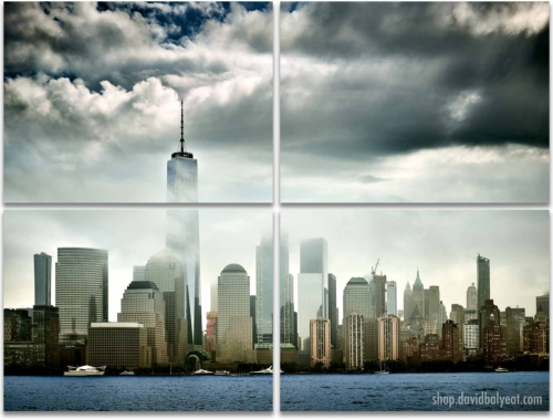 Stormy skies New York City skyline 4 panel artwork