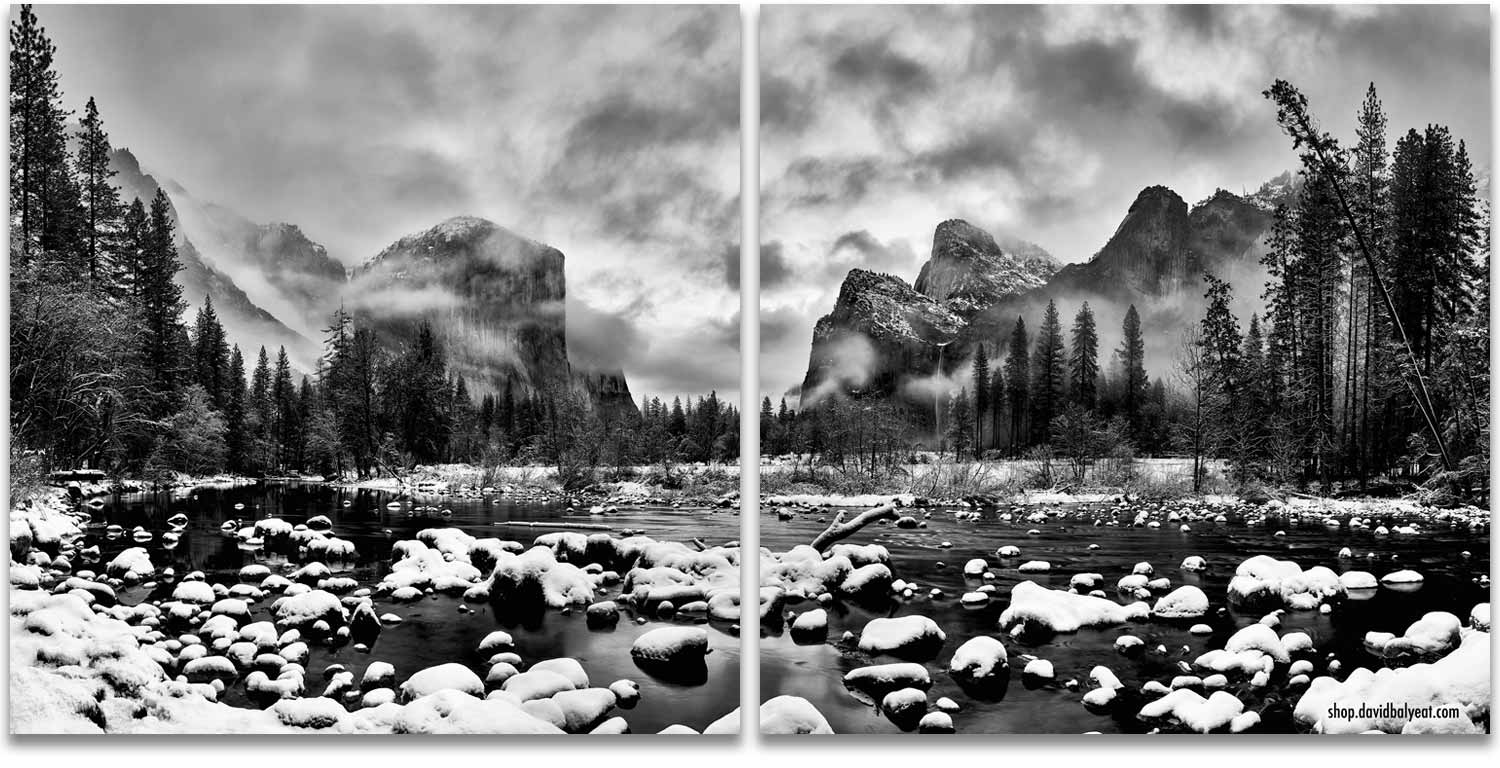 Yosemite National Park Valley View black and white snow winter wonderland 2-panel artwork