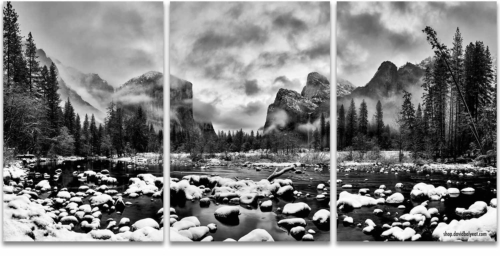Yosemite National Park Valley View black and white snow winter wonderland 3-panel artwork