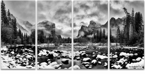 Yosemite National Park Valley View black and white snow winter wonderland 4-panel artwork