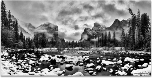 Yosemite National Park Valley View black and white snow winter wonderland artwork