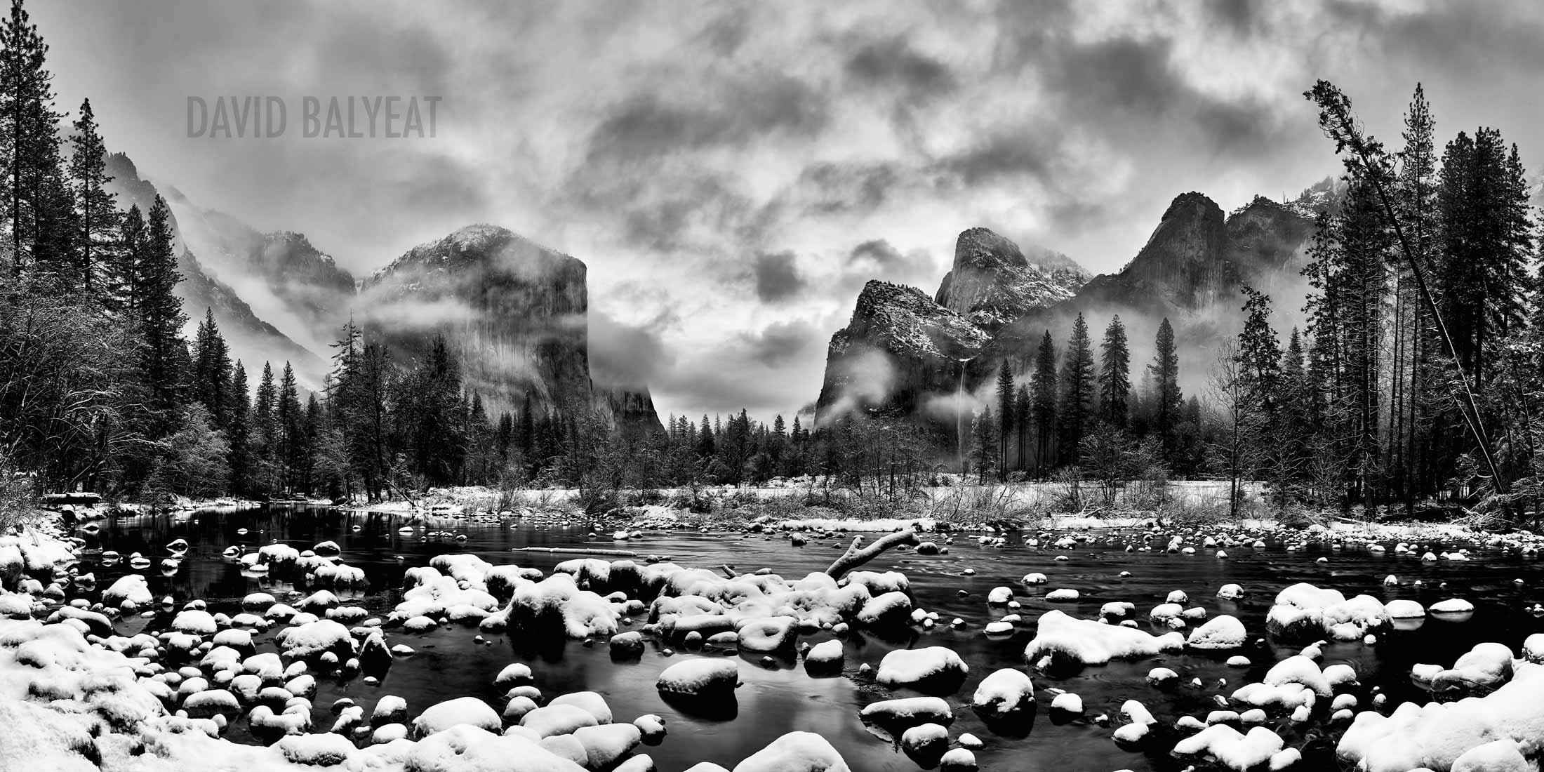 Yosemite National Park Valley View black and white snow winter wonderland high-definition professional landscape photography