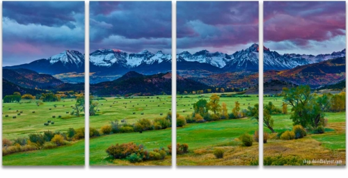 Ridgway Colorado 4 Panel artwork (quadriptych) mountain ranch at sunset