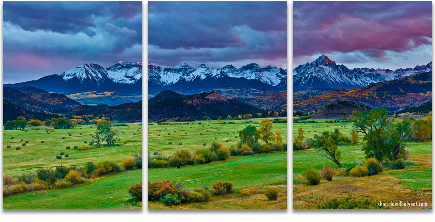 Ridgway Colorado 3 panel artwork (triptych) mountain ranch at sunset