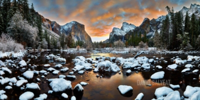 Yosemite National Park sunrise snow Valley View