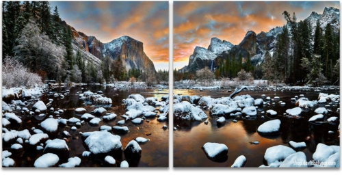 Yosemite National Park Valley View sunrise snow 2-panel artwork