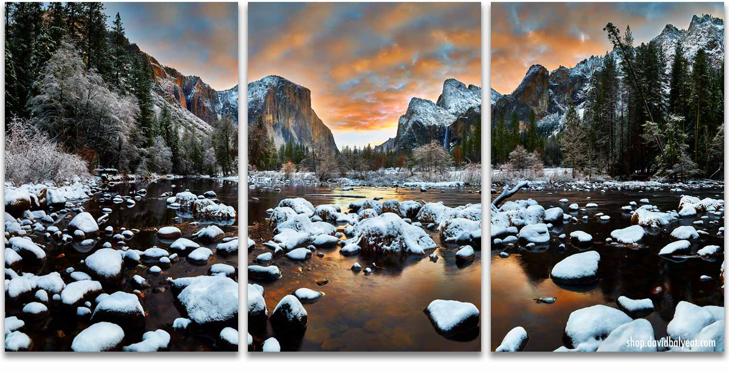 Yosemite National Park Valley View sunrise snow 3-panel artwork