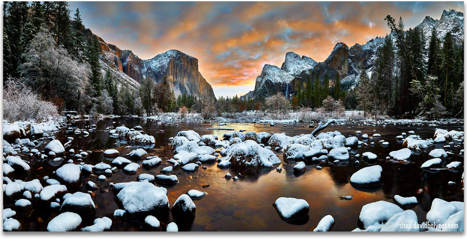 Yosemite National Park Valley View sunrise snow artwork