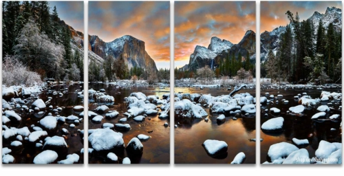 Yosemite National Park Valley View sunrise snow 4-panel artwork