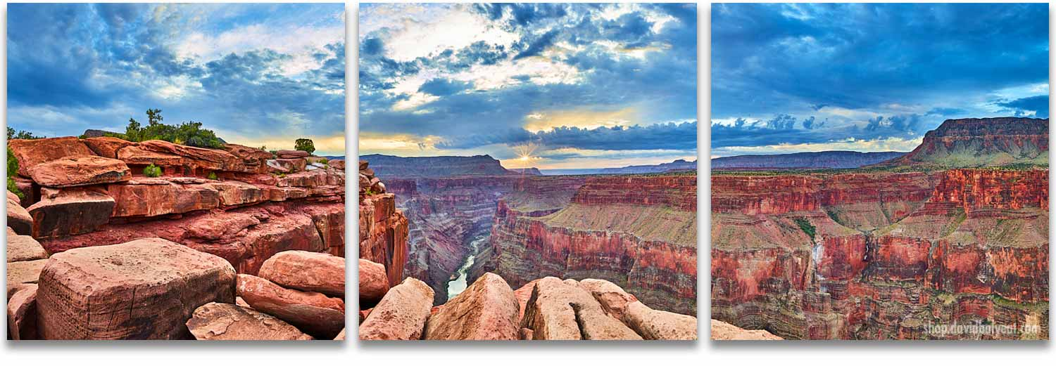 Toroweap Grand Canyon Sunrise 3 Panel Wall Art