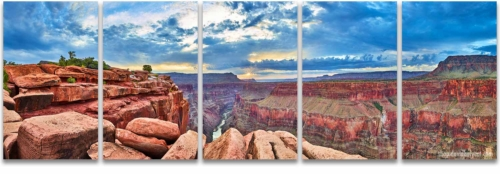 Toroweap Grand Canyon Sunrise 5 Panel Wall Art