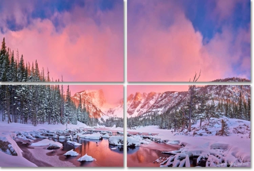 Dream Lake Winter Sunrise 4-panel Wall Artwork