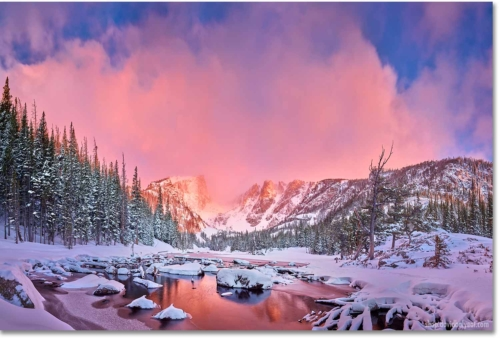 Dream Lake Winter Sunrise 1-panel wall artwork