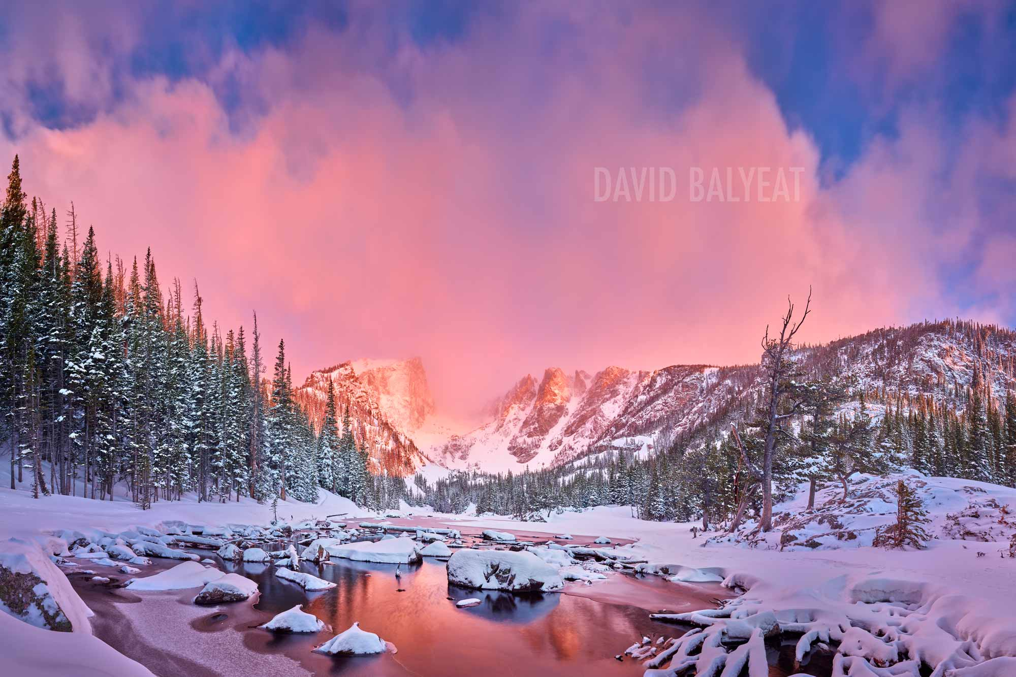 Dream Lake Winter Sunrise Snow Rocky Mountain National Park Colorado Photography