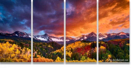 Transcendence Colorado San Juan Mountains 4-Panel Quadriptych Wall Art